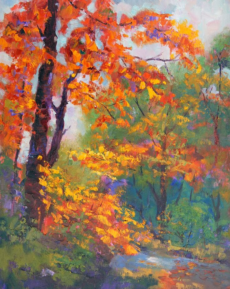 best fall tree. Artist clipart oil painting