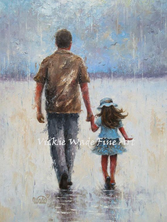 Father and daughter original. Artist clipart oil painting