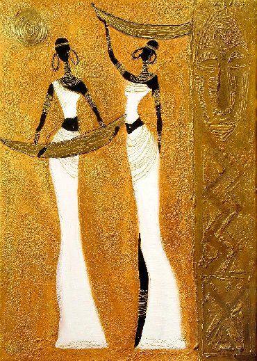 Artist clipart oil painting. Golden african women gallery