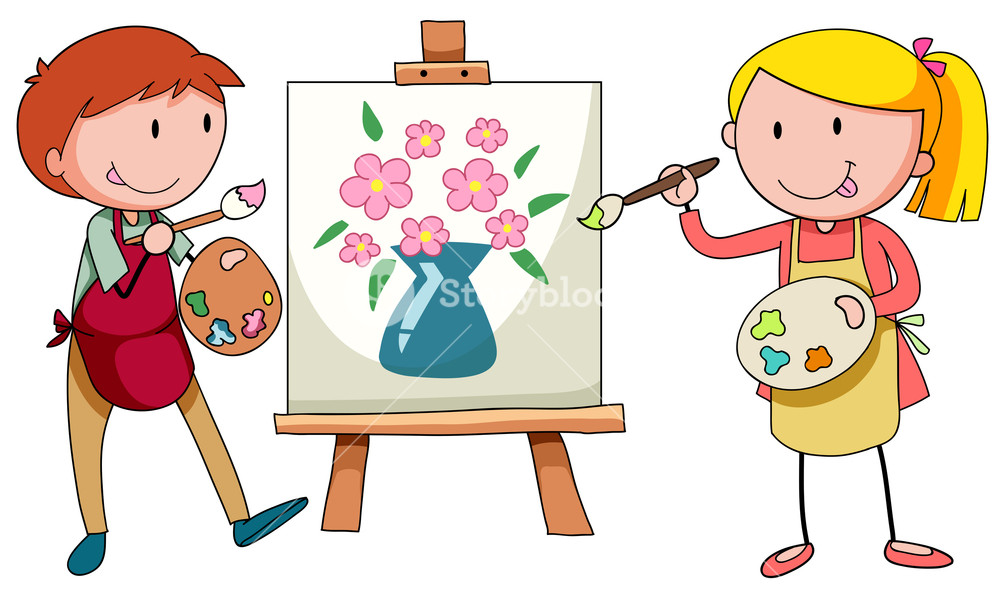 Painter clipart artisit. Two artists painting on
