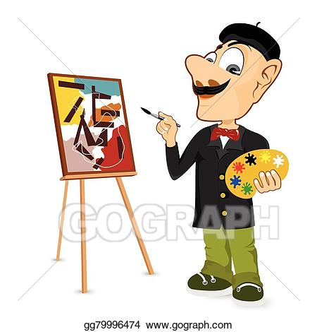Eps vector happy male. Artist clipart painter