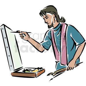 A male painting on. Artist clipart painter