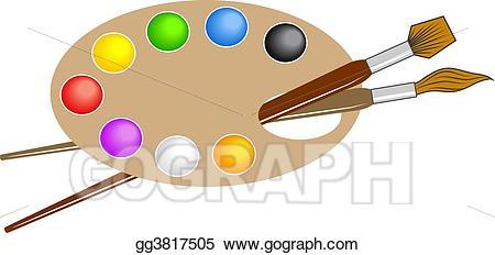 Artist clipart palette. Stock illustration artists drawing