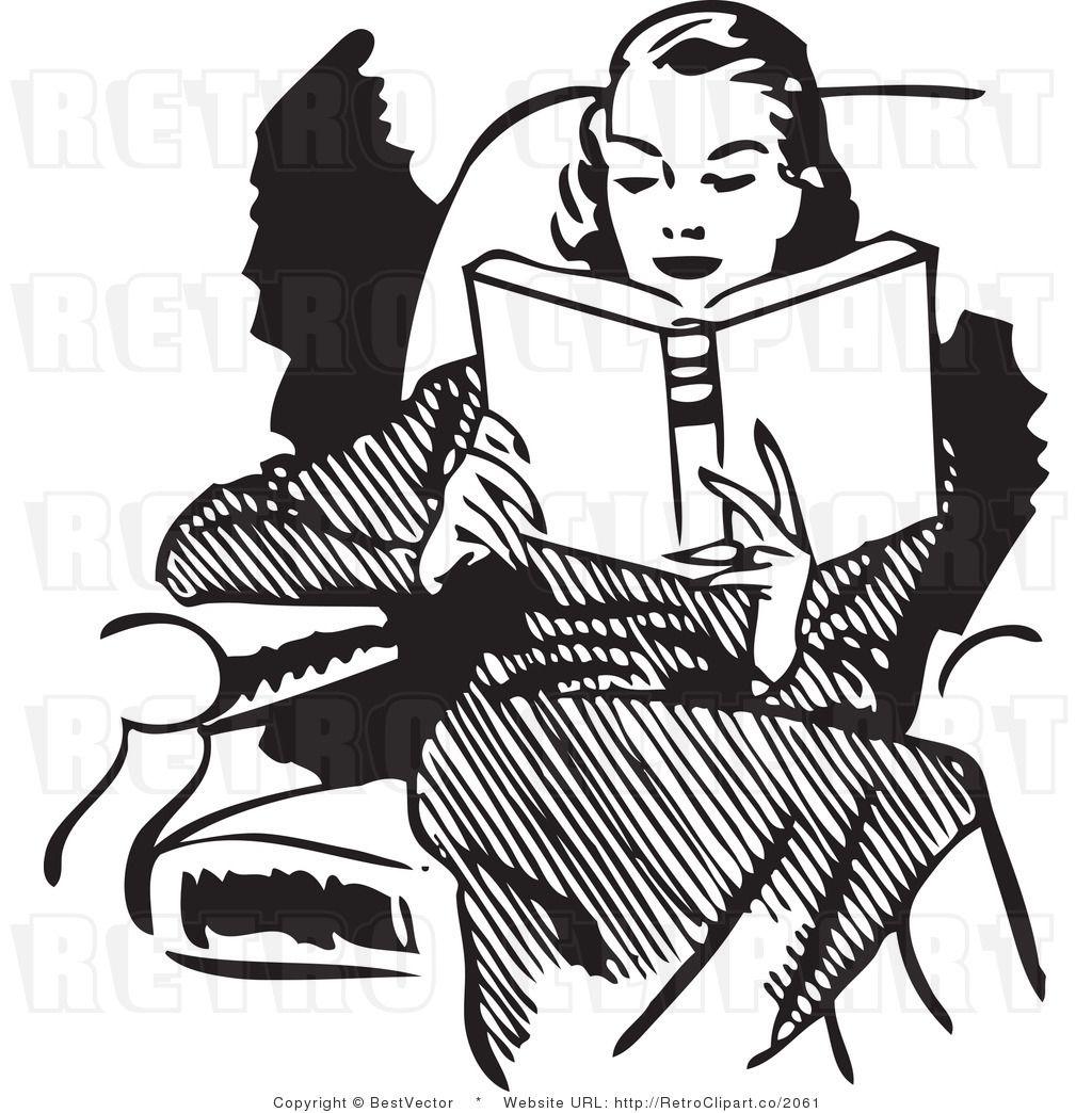 Retro clipart artist. Woman reading clip art