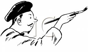Artist clipart retro. A cartoon of male