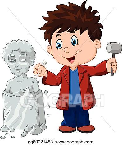 Artist clipart sculptor. Vector art boy holding