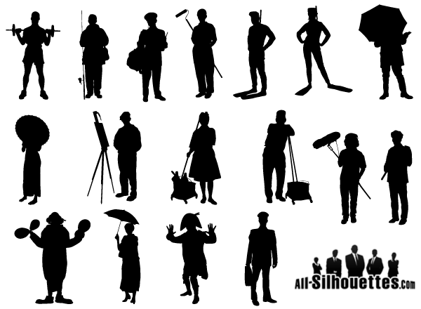 Artist clipart silhouette. Working people vector free