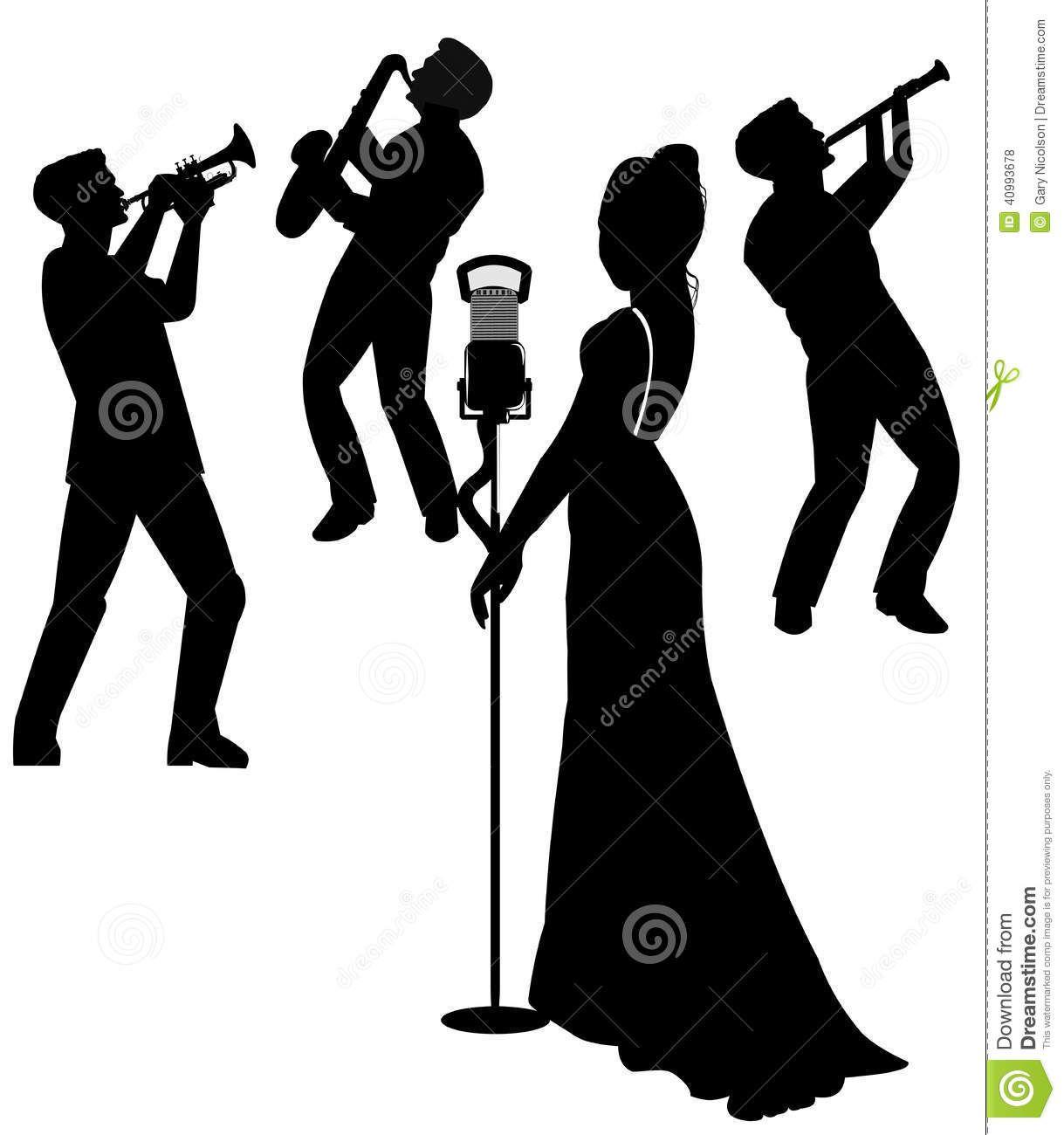 Images for jazz singer. Artist clipart silhouette