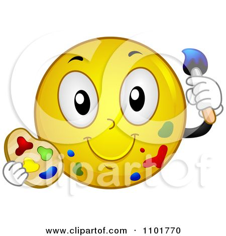 Emotions clip art yellow. Artist clipart smiley face