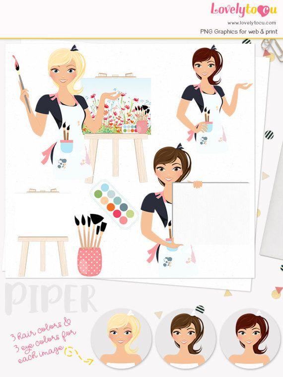 Artist clipart woman artist. Painter character clip art
