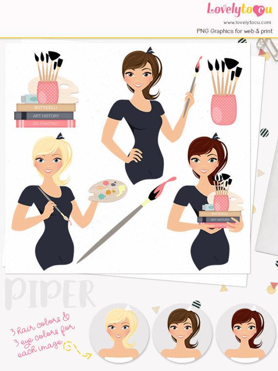 Artist clipart woman artist. Character artistic set dessins