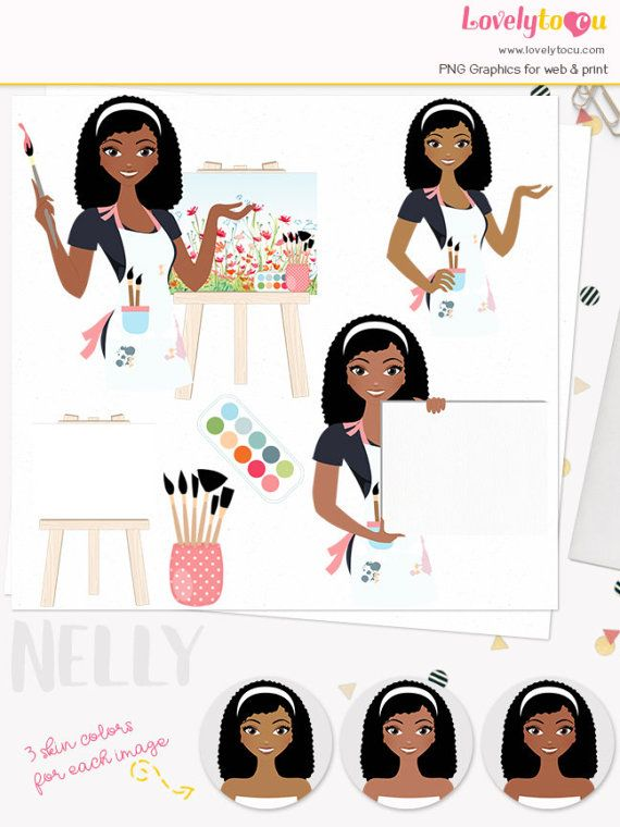 Character artistic set with. Artist clipart woman artist