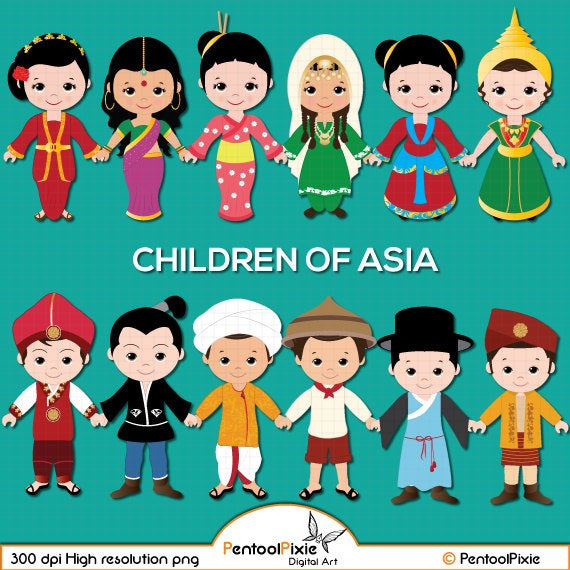 Children of asia kids. Asian clipart