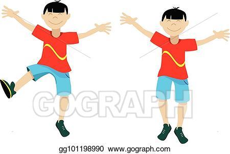 Asian clipart asian child. Eps vector happy boy