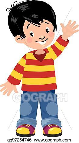 Asian clipart asian child. Vector illustration funny little