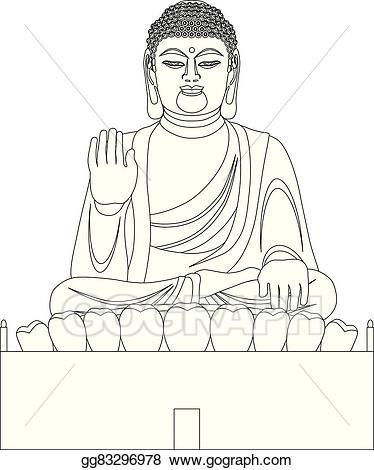 Vector illustration asian buddha. Big clipart black and white
