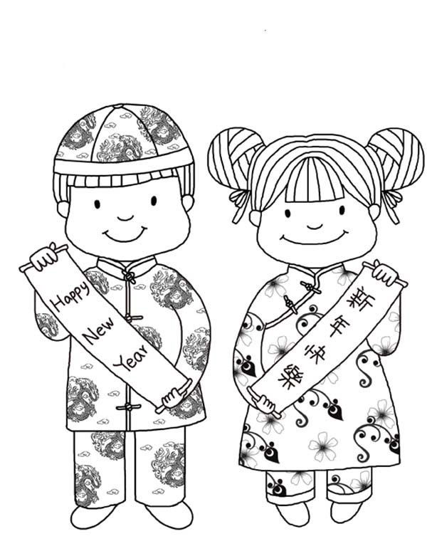 China clipart kid chinese. New year coloring pages
