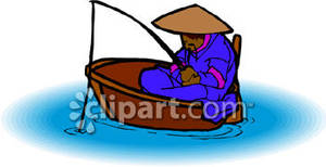 Man fishing in a. Asian clipart boat