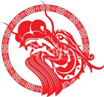 Chinese dragon head art. Asian clipart boat