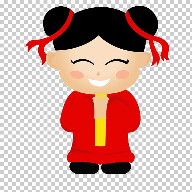 Chinese cartoon asian girl. China clipart animated