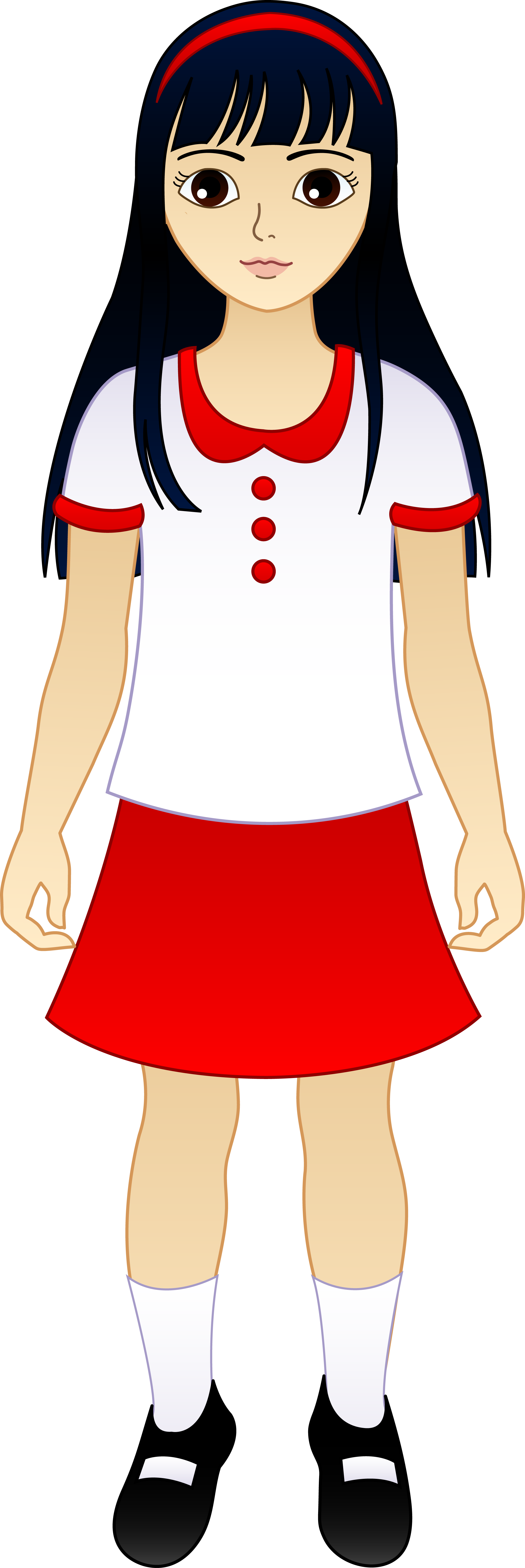 Little asian girl free. Record clipart cartoon