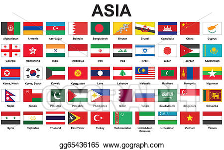 Vector art countries flags. Asian clipart country asian