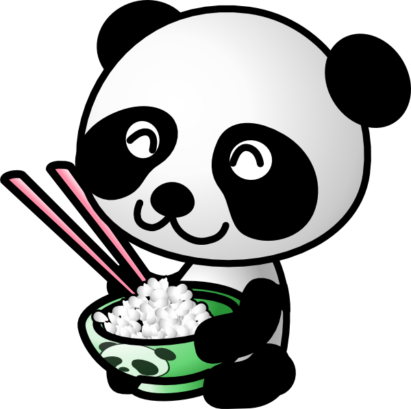 Asian panda eating rice. Hungry clipart food