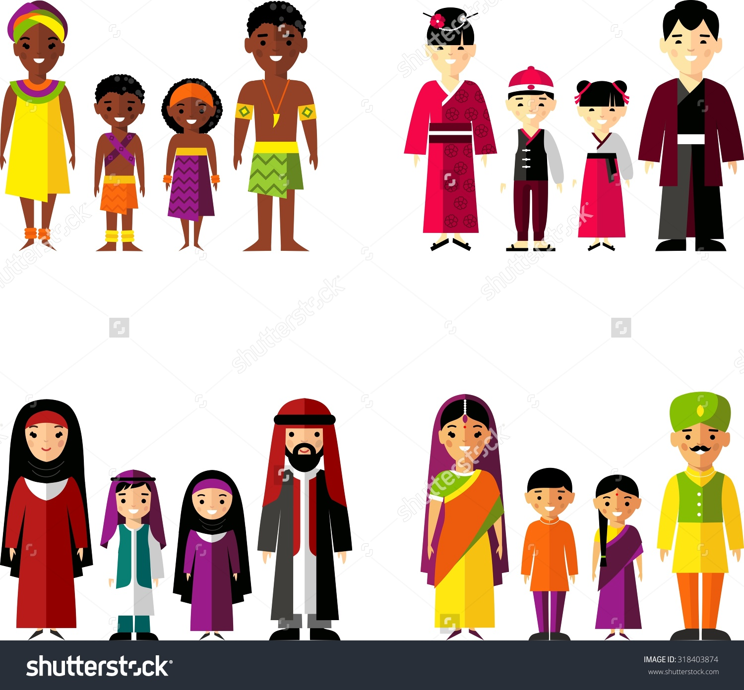 collection of multicultural. Asian clipart family member