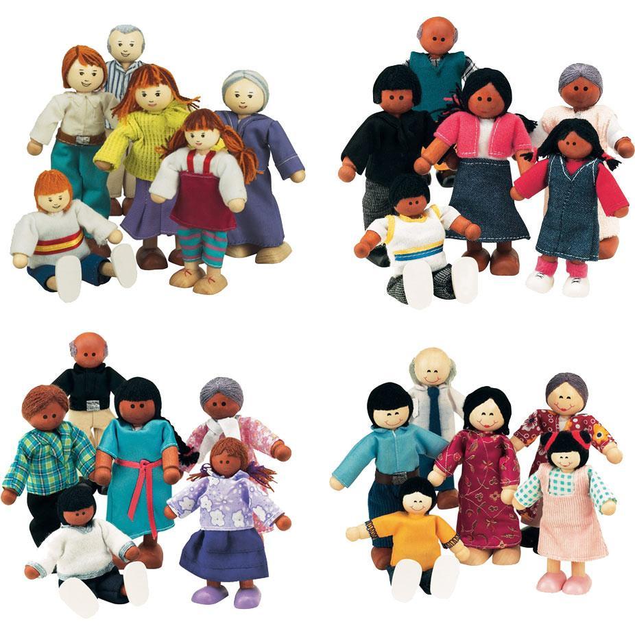 Asian clipart family member. Set of wooden doll