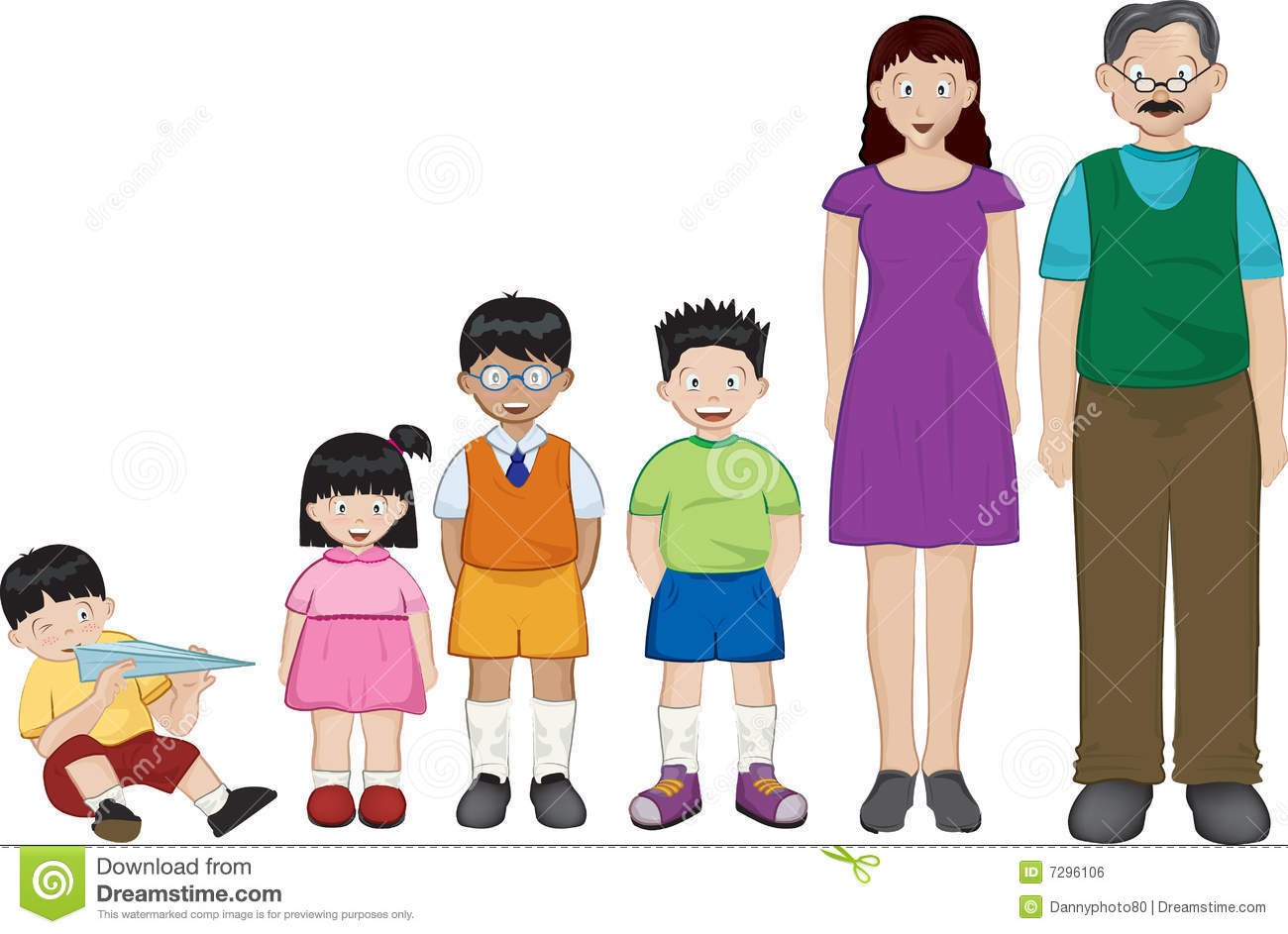Pencil and in color. Asian clipart family member