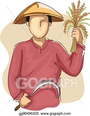 Farmers clipart man. Vector farmer scythe wheat
