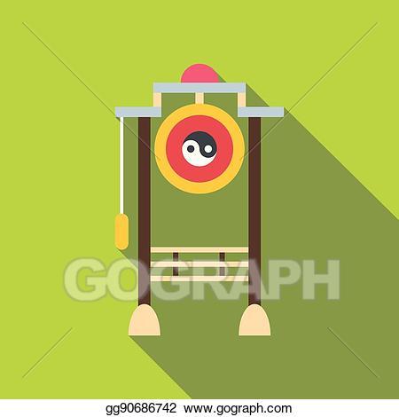 Asian clipart gate. Vector art icon flat