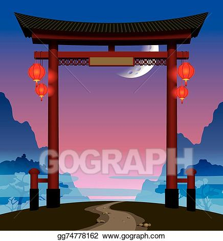 Asian clipart gate. Vector stock chinese illustration