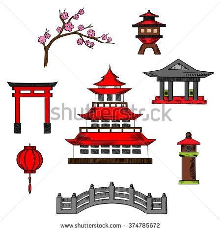 Asian clipart gate. Japan travel and culture