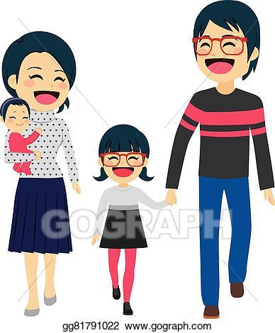 Vector art family walking. Asian clipart happy