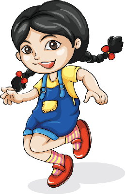 Girl dancing the arts. Asian clipart happy