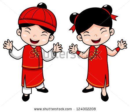 Of cartoon chinese kids. China clipart illustration