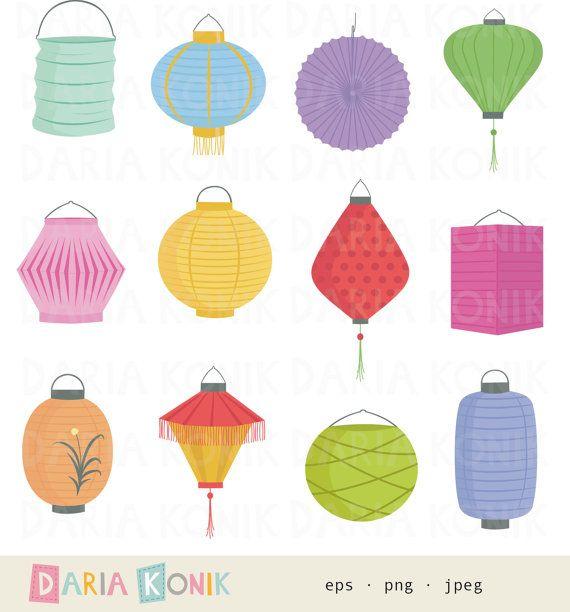 China clipart set. Paper lanterns clip art