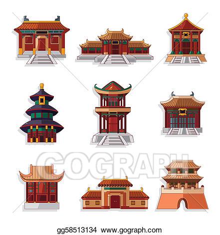 Asian clipart landmark. Eps vector cartoon chinese