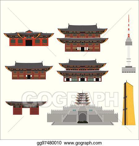 Asian clipart landmark. Eps illustration printsouth korea