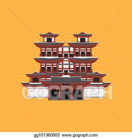 Asian clipart landmark. Eps vector flat building