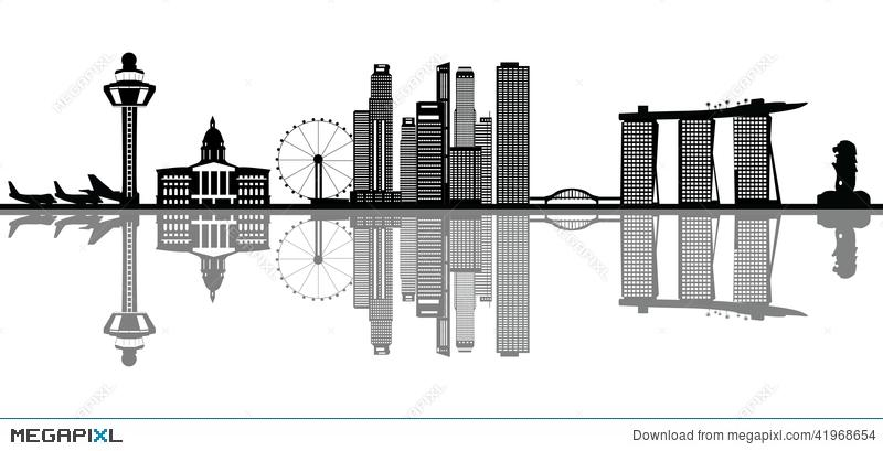 Singapore skyline illustration megapixl. Asian clipart landmark