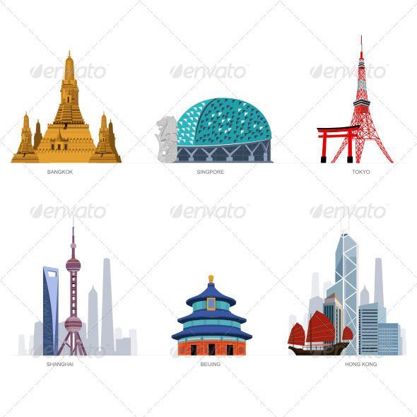 Famous cities illustration bangkok. Asian clipart landmark