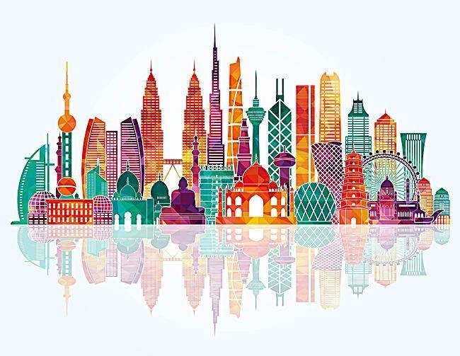 Asian clipart landmark. Landmarks background template vector