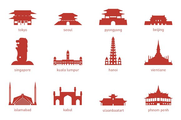 Capital landmarks illustrations creative. Asian clipart landmark