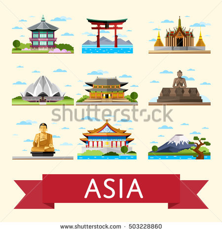 Asia pencil and in. Asian clipart landmark