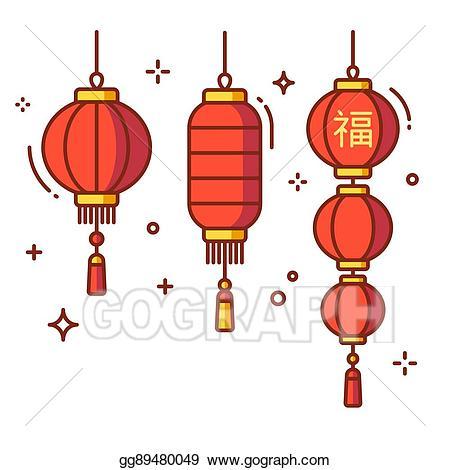 Chinese clipart lantern. Vector illustration lanterns set