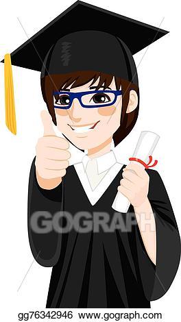 Vector art graduation boy. Asian clipart nerd