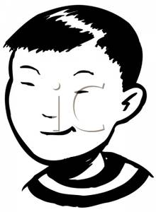 A retro cartoon of. Asian clipart nerd
