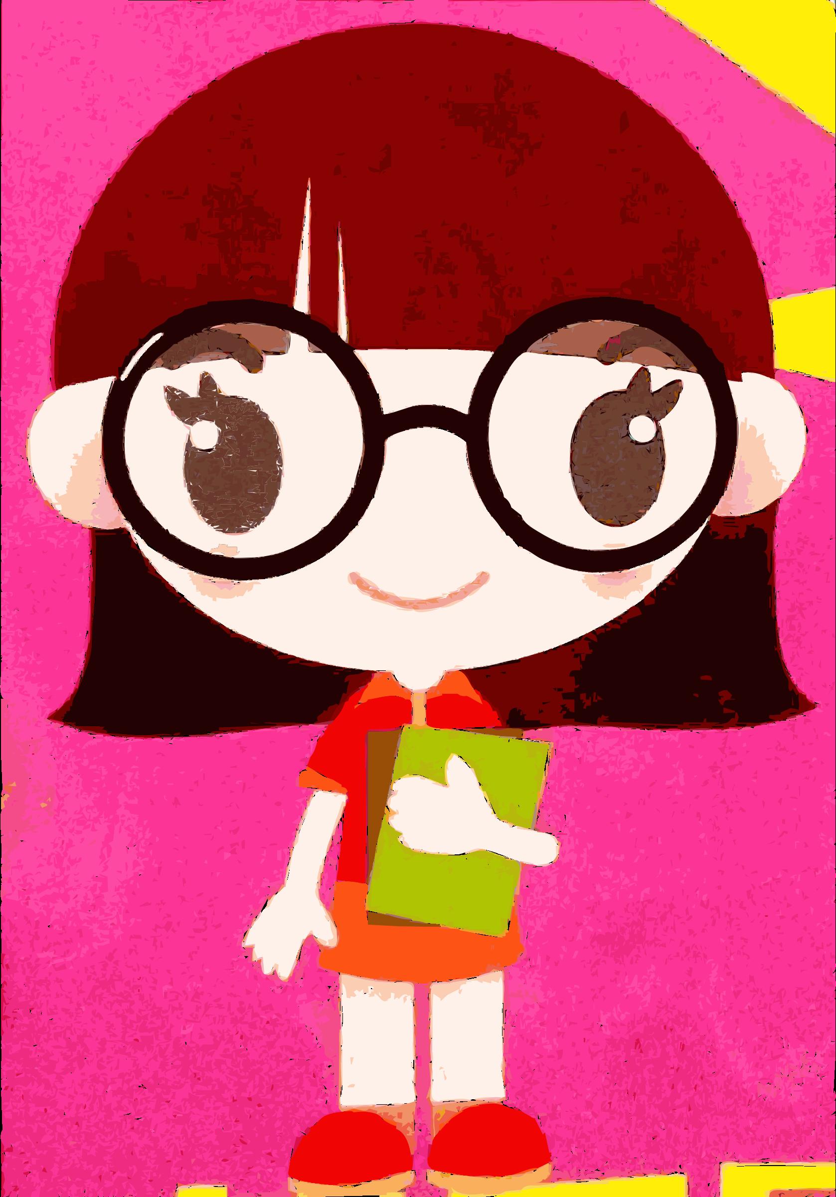 Found girl big image. Asian clipart nerd